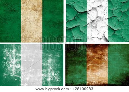 Nigeria flag collection. 4 different flags on white background