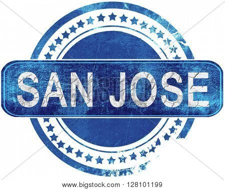 san jose grunge blue stamp. Isolated on white.