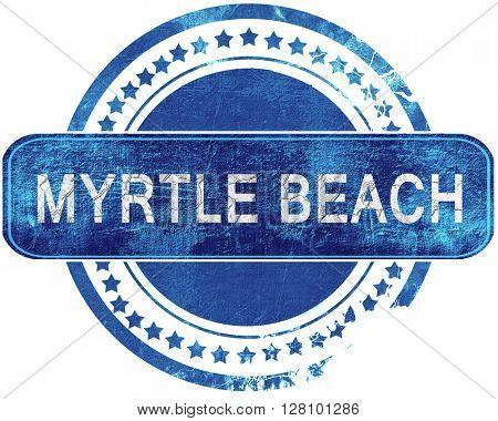 myrtle beach grunge blue stamp. Isolated on white.