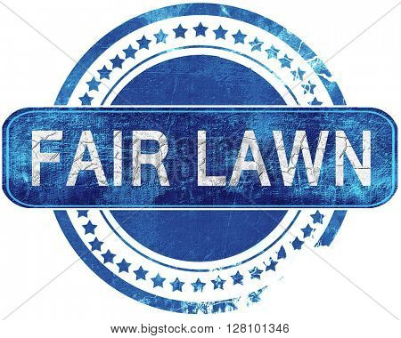 fair lawn grunge blue stamp. Isolated on white.