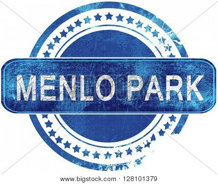 menlo park grunge blue stamp. Isolated on white.