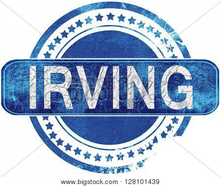 irving grunge blue stamp. Isolated on white.