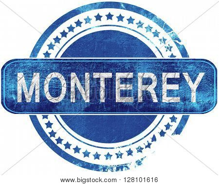 monterey grunge blue stamp. Isolated on white.