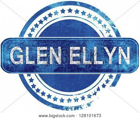 glen ellyn grunge blue stamp. Isolated on white.