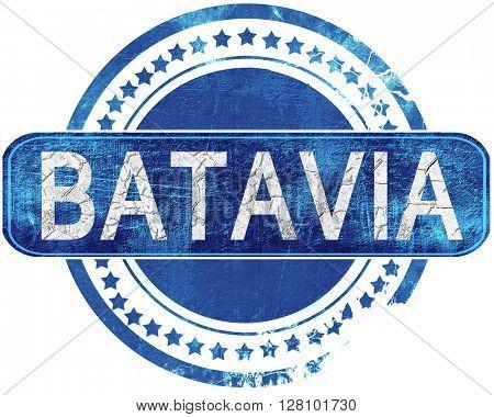 batavia grunge blue stamp. Isolated on white.
