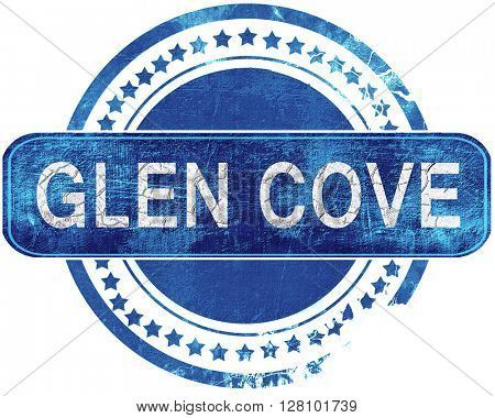 glen cove grunge blue stamp. Isolated on white.