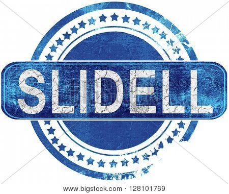 slidell grunge blue stamp. Isolated on white.