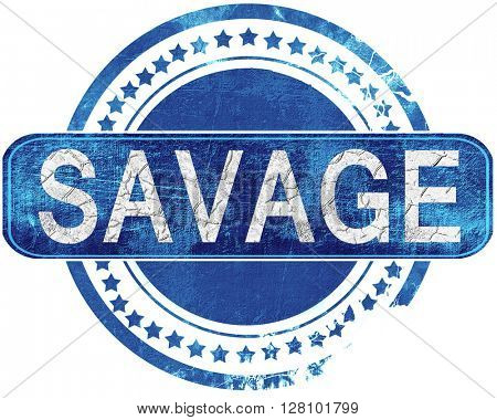 savage grunge blue stamp. Isolated on white.