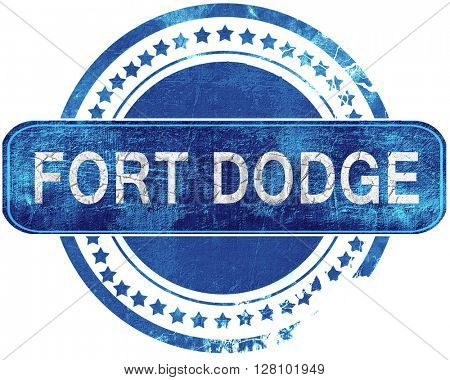 fort dodge grunge blue stamp. Isolated on white.