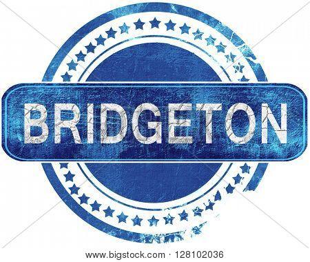 bridgeton grunge blue stamp. Isolated on white.