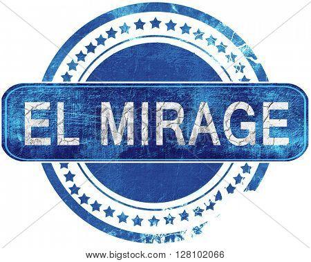 el mirage grunge blue stamp. Isolated on white.