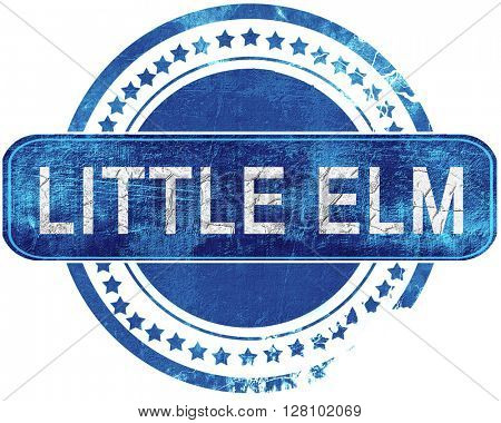 little elm grunge blue stamp. Isolated on white.