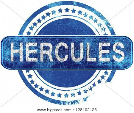 hercules grunge blue stamp. Isolated on white.