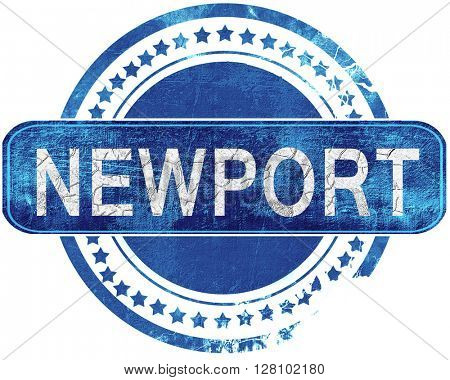 newport grunge blue stamp. Isolated on white.