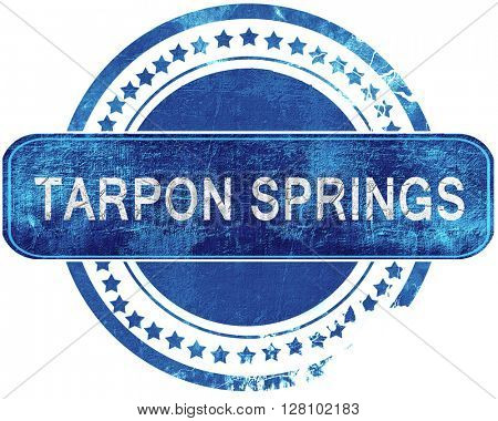 tarpon springs grunge blue stamp. Isolated on white.