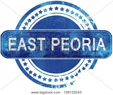 east pretoria grunge blue stamp. Isolated on white.