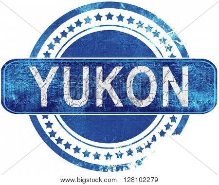 yukon grunge blue stamp. Isolated on white.
