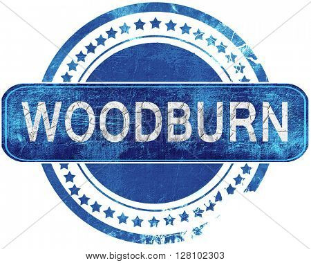 woodburn grunge blue stamp. Isolated on white.