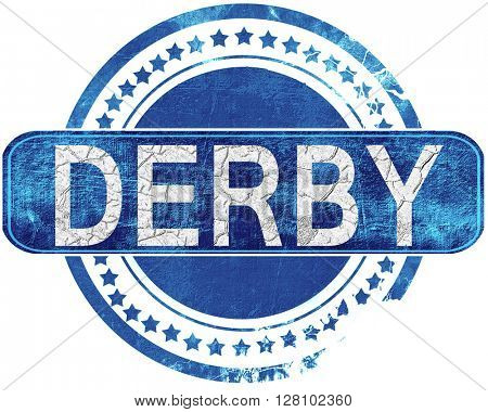 derby grunge blue stamp. Isolated on white.