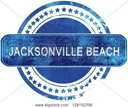 jacksonville beach grunge blue stamp. Isolated on white.