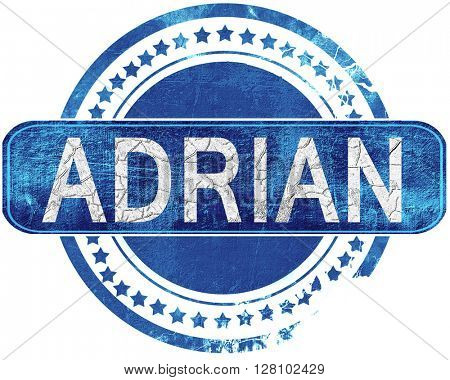 adrian grunge blue stamp. Isolated on white.