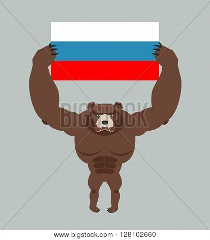 Russian Aggressive Bear. Angry Animal Holds Russian Flag. Ferocious Wild Beast. Forest Monster With