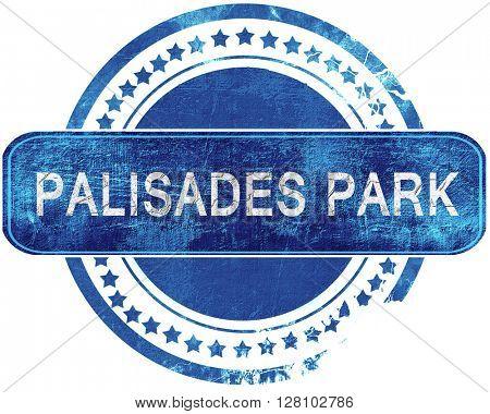 palisades park grunge blue stamp. Isolated on white.