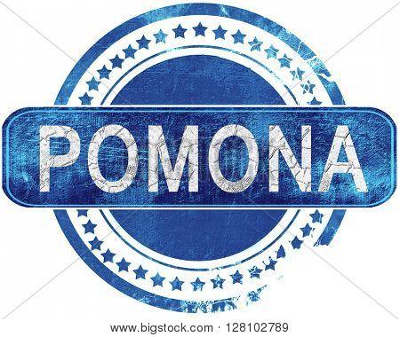 pomona grunge blue stamp. Isolated on white.