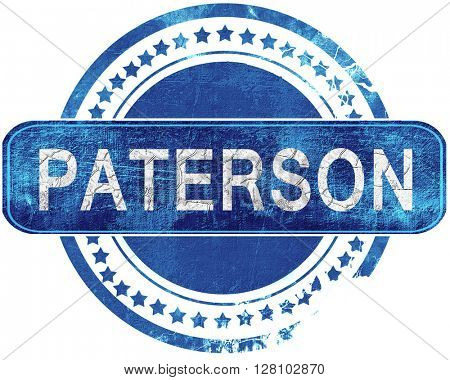 paterson grunge blue stamp. Isolated on white.
