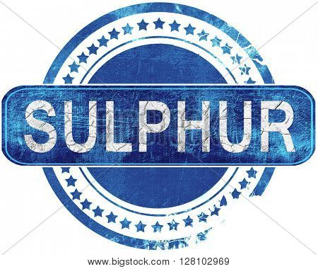 sulphur grunge blue stamp. Isolated on white.