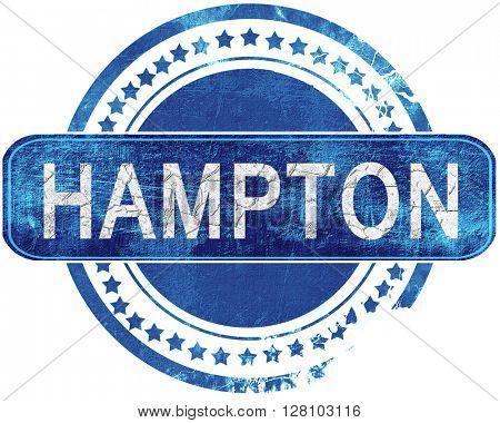 hampton grunge blue stamp. Isolated on white.