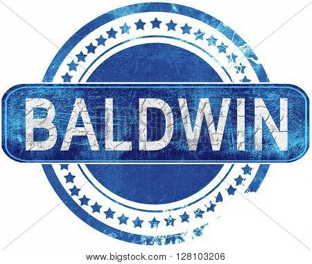 baldwin grunge blue stamp. Isolated on white.