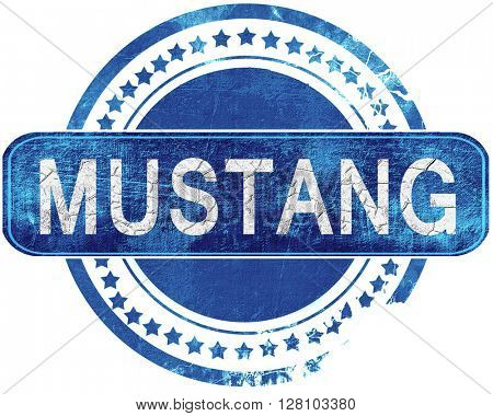 mustang grunge blue stamp. Isolated on white.