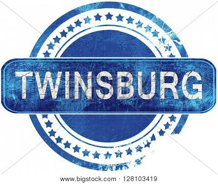 twinsburg grunge blue stamp. Isolated on white.