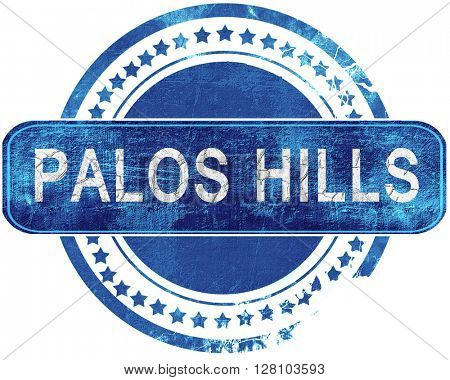 palos hills grunge blue stamp. Isolated on white.