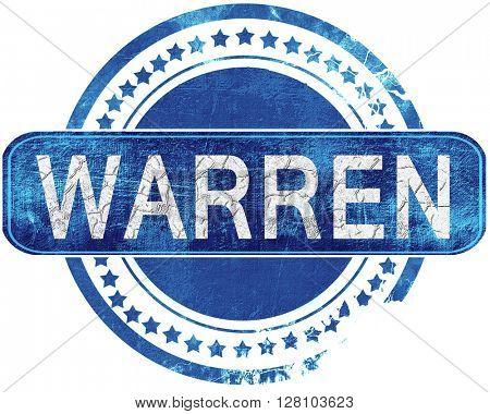 warren grunge blue stamp. Isolated on white.