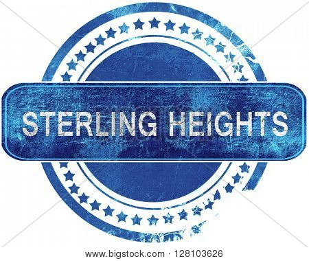 sterling heights grunge blue stamp. Isolated on white.