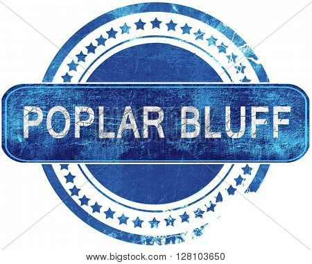 poplar bluff grunge blue stamp. Isolated on white.