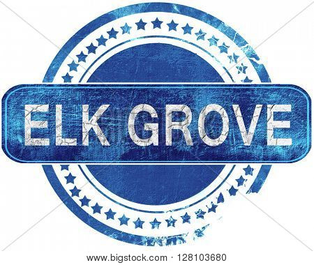 elk grove grunge blue stamp. Isolated on white.