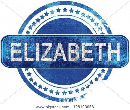 elizabeth grunge blue stamp. Isolated on white.