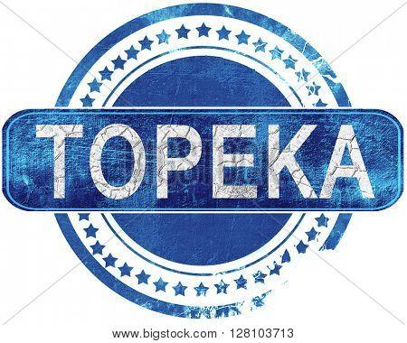 topeka grunge blue stamp. Isolated on white.