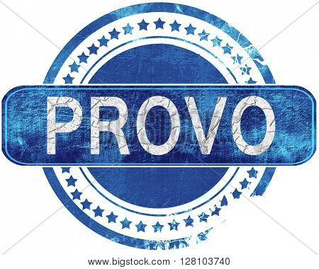 provo grunge blue stamp. Isolated on white.