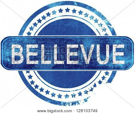 bellevue grunge blue stamp. Isolated on white.