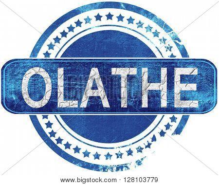 olathe grunge blue stamp. Isolated on white.