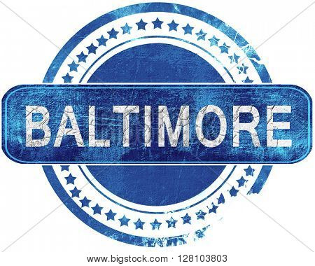 baltimore grunge blue stamp. Isolated on white.