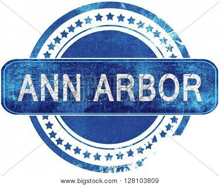 ann arbor grunge blue stamp. Isolated on white.