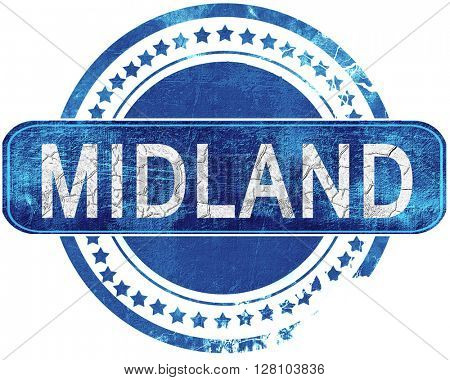 midland grunge blue stamp. Isolated on white.