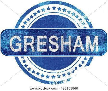 gresham grunge blue stamp. Isolated on white.