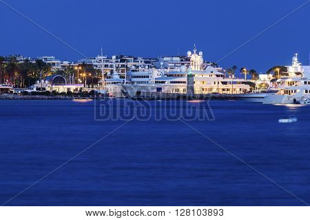 Evening in Cannes - city panorama accros the bay. Cannes Provence-Alpes-Cote d'Azur France