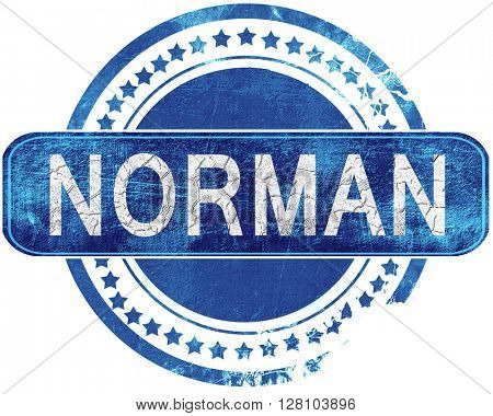 norman grunge blue stamp. Isolated on white.
